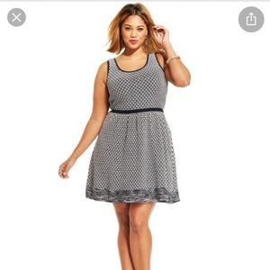 Jessica Simpson Navy White Cotton Knit Dress Sz S